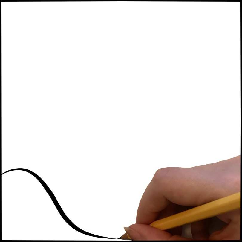 A hand drawing a line