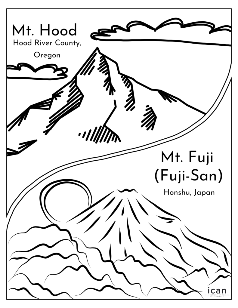 black and white outline of Oregon's Mount Hood and Japan's Mount Fuji