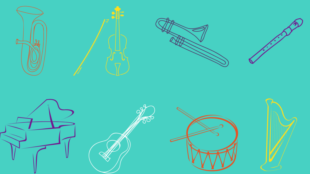 Drawings of musical instruments