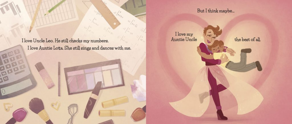A page from Auntie Uncle: Drag Queen Hero. Image shows things Auntie Uncle loves makeup and math and their nephew.