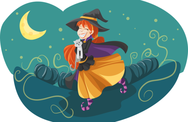 Illustration of Witch With Cat